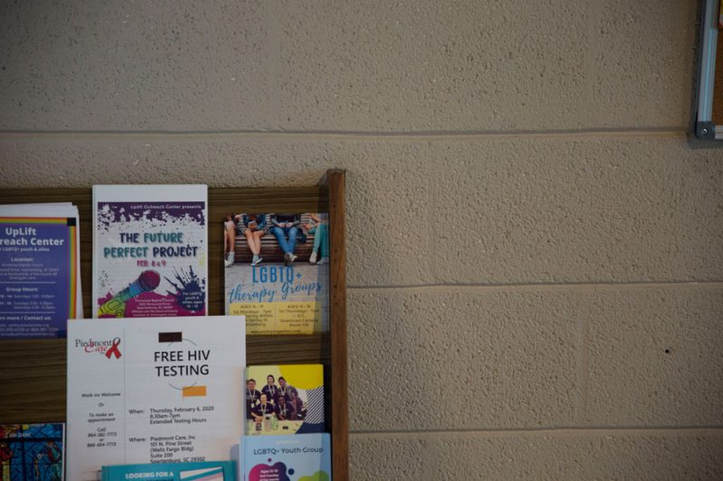 lgbtq pamphlets and resources at uplift outreach center